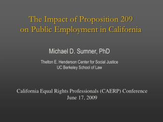 The Impact of Proposition 209  on Public Employment in California