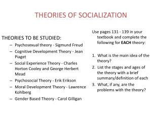 THEORIES OF SOCIALIZATION