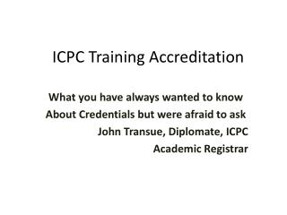 ICPC Training Accreditation