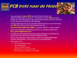 FCB  trekt naar de Heizel