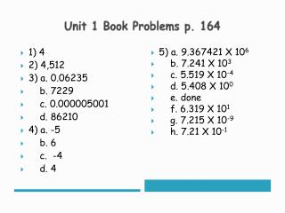 Unit 1 Book Problems p. 164