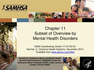 Chapter  11 Subset of Overview by  Mental Health Disorders