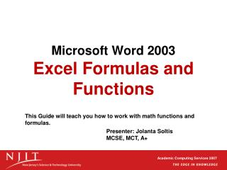 Microsoft Word 2003  Excel Formulas and Functions