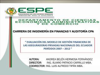 CARRERA DE INGENIERÍA EN FINANZAS Y AUDITORÍA CPA