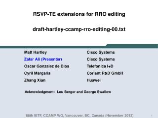 RSVP -TE extensions for RRO editing draft-hartley-ccamp-rro-editing-00.txt