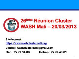 26 ème Réunion Cluster WASH Mali –  20/03/2013