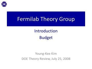 Fermilab  Theory Group