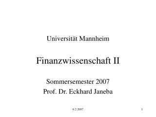 Universit t Mannheim   Finanzwissenschaft II