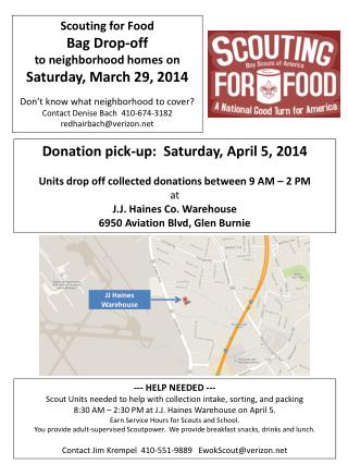 Scouting for Food Bag  Drop-off  to  neighborhood  homes on Saturday, March 29,  2014