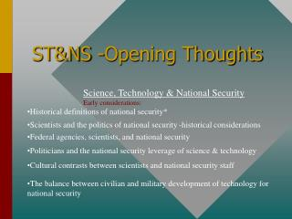 STNS -Opening Thoughts