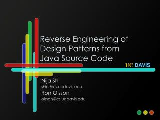 Reverse Engineering of Design Patterns from  Java Source Code