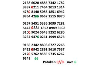 9166 2342 8898 6727 2268 3423  0 942 2891 5610 7537 212 0  5762 8585 5735 6262 9348