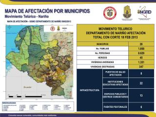 MAPA DE AFECTACIÓN POR MUNICIPIOS  Movimiento Telúrico - Nariño