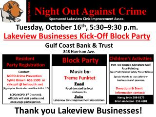 Tuesday ,  October 16 th ,  5:30–9:30 p.m.