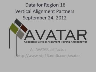 Data for Region 16 Vertical Alignment Partners September 24, 2012