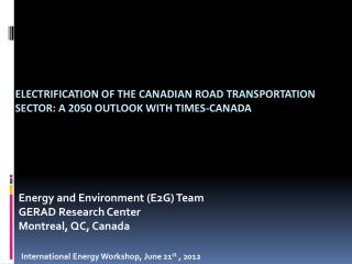 Electrification of the Canadian road transportation sector: A 2050 outlook with TIMES-Canada