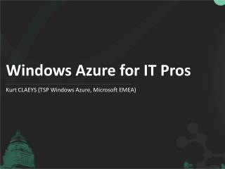 Windows Azure for IT Pros
