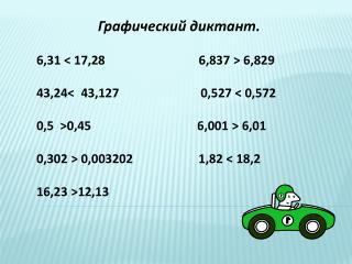 Графический диктант. 6,31 < 17,28                              6,837  >  6,829