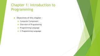 Chapter 1: Introduction to Programming