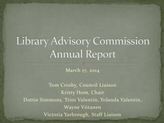 Library Advisory Commission Annual Report