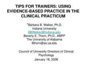 TIPS FOR TRAINERS: USING EVIDENCE-BASED PRACTICE IN THE CLINICAL PRACTICUM