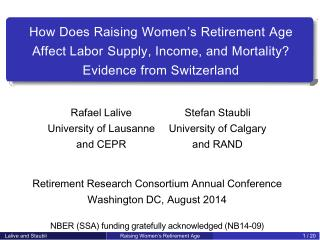 How Does Raising Women's Retirement Age Affect Labor Supply, Income, and Mortality?