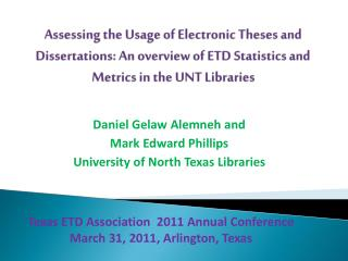 Texas ETD Association  2011 Annual Conference March 31, 2011, Arlington, Texas