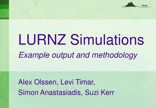 LURNZ Simulations  Example output and methodology