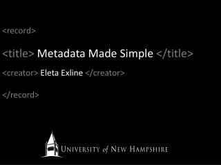 Title Metadata Made Simple