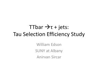 TTbar ? ?  + jets : Tau Selection Efficiency Study
