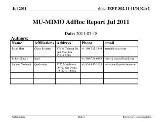 MU-MIMO AdHoc Report Jul 2011