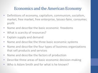 Economics and the American Economy