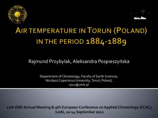 Air temperature  in  Toruń  (Poland)  in  the period  188 4 -1889