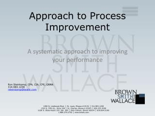 Approach to Process Improvement