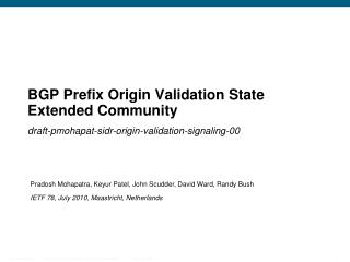 BGP Prefix Origin Validation State Extended Community