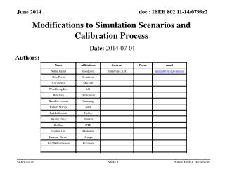 Modifications to Simulation Scenarios and Calibration Process