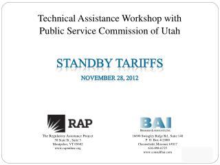 Standby tariffs November 28, 2012
