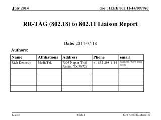 RR-TAG (802.18) to 802.11 Liaison Report