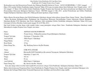 Hasil Seleksi Calon Paskibraka 2012 dan Duta Calon Paskibraka 2012 Tingkat Propinsi Jawa Tengah.