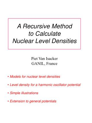 A Recursive Method to Calculate Nuclear Level Densities