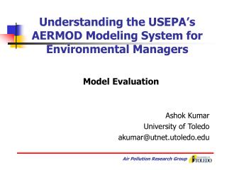 Understanding the USEPA's AERMOD Modeling System for Environmental Managers