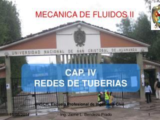 CAP. IV REDES DE TUBERIAS