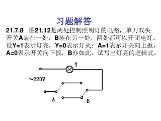 """解:  由图 21.12 可知 , A,B 同时向上或同时向下则灯亮,所以是""""同或""""逻辑关系,逻辑式为"""
