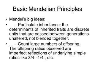 Basic Mendelian Principles