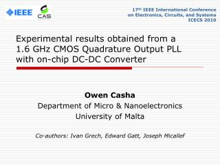 Owen Casha Department of Micro & Nanoelectronics University of Malta