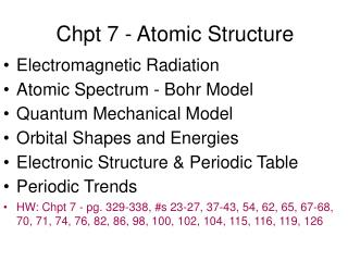Chpt 7 - Atomic Structure
