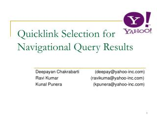 Quicklink Selection for Navigational Query Results