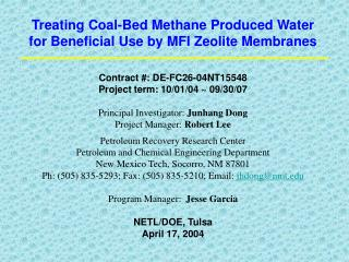 Treating Coal-Bed Methane Produced Water for Beneficial Use by MFI Zeolite Membranes