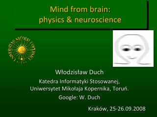 Mind from brain:  physics  neuroscience