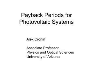 Payback Periods for Photovoltaic Systems